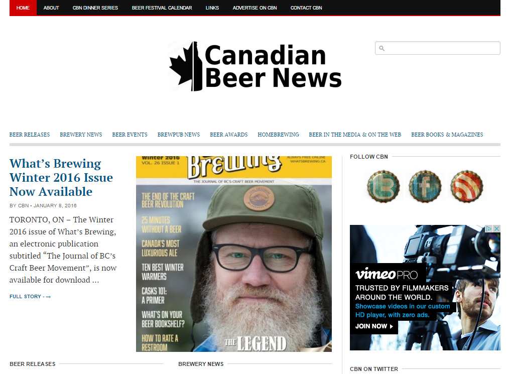 What's Brewing Featured In Canadian Beer News