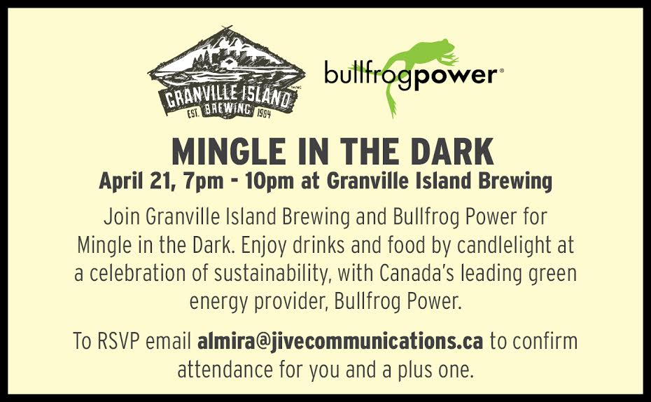 Mingle In The Dark With Granville Island Brewing And Bullfrog Power