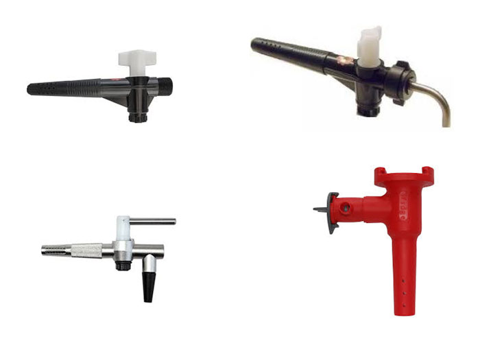 Clockwise from top left: beer-engine tap, beer engine tap modified with a down turn for gravity serving, a widge tap and a steel gravity tap.