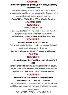 Sudo Asian Kitchen 5 Course Pairing Dinners, ALL August Long at ALL JRG Public Houses @ Townhall Public House Langley |  |  |