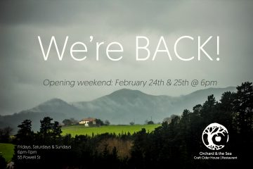 Orchard & the Sea Craft Cider House - Re-Opens @ Orchard & the Sea |  |  |