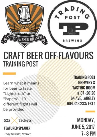 Training Post - Off Flavours @ Trading Post Brewing - Tasting Room |  |  |