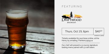 5  Course Driftwood Brewery Pairing Dinner @ The Henry Public House |  |  |
