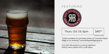 5 Course R&B Brewing Co. Beer Pairing Dinner @ Townhall Public House Maple Ridge |  |  |