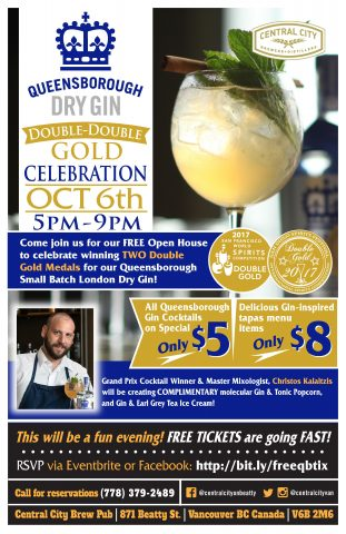 Queensborough Gin Double-Double Gold Open House Celebration! @ Central City Brewpub on Beatty | Vancouver | British Columbia | Canada