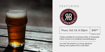 5 Course R&B Brewing Co. Beer Pairing Dinner @ Oceanside Yacht Club & Public House |  |  |