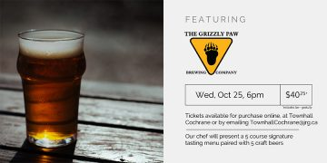 5 Course Grizzly Paw Brewing Beer Pairing Dinner @ Townhall Public House Cochrane |  |  |