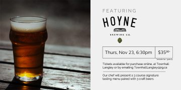3 Course Hoyne Brewing Beer Pairing Dinner @ Townhall Public House Langley |  |  |