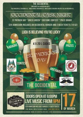 Occidental St. Patrick's Day Cask Night @ The Occidental | Quesnel | British Columbia | Canada