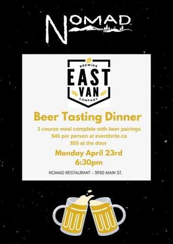 Beer Tasting Dinner with East Van Brewing Co. @ Nomad Restaurant