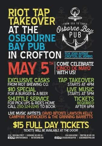 Riot Tap Takeover at the Osbourne Bay Pub in Crofton @ Osborne Bay Pub