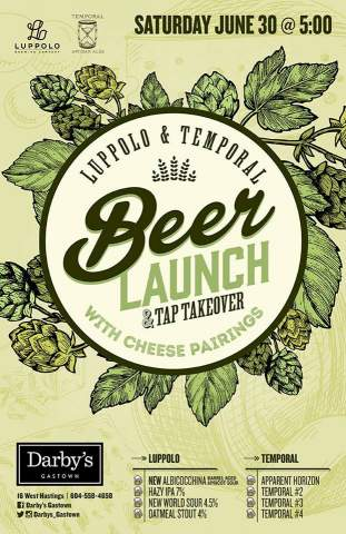 Luppolo & Temporal beer launch, tap takeover and cheese pairing @ Darby's Gastown