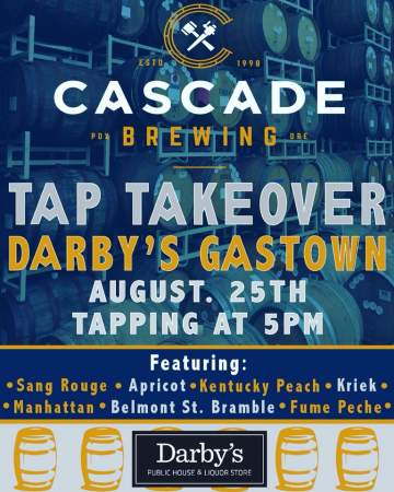Cascade Tap Takeover @ Darby's Gastown