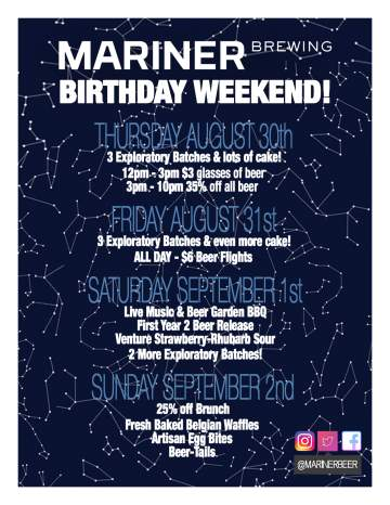 Mariner Brewing 1st Birthday Weekend @ Mariner Brewing | Coquitlam | British Columbia | Canada