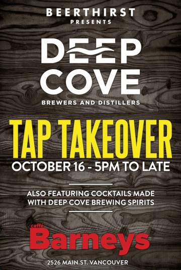 Deep Cove Tap Takeover @ Caffe Barney Main Street   Vancouver   British Columbia   Canada