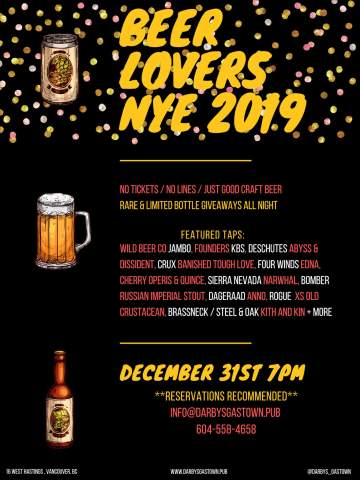Gastown's Beer Lovers NYE 2019 @ Darby's Gastown