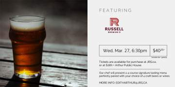4 Course Russell Brewing Beer or Wine Pairing Dinner @ Edith + Arthur Public House |  |  |
