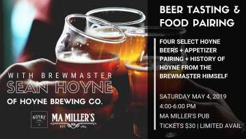 Beer Tasting Event with Sean Hoyne of Hoyne Brewing Co. @ Ma Miller's Pub