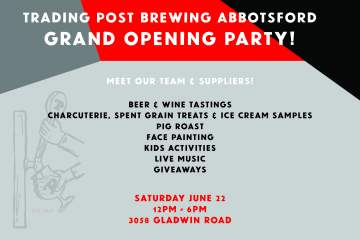 Trading Post Abbotsford Eatery - Grand Opening @ Trading Post Brewing Abbotsford Eatery |  |  |